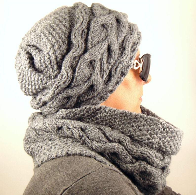 e5cc0329005 HAT SCARF SET Winter Knit hat scarf set Chunky hat and scarf