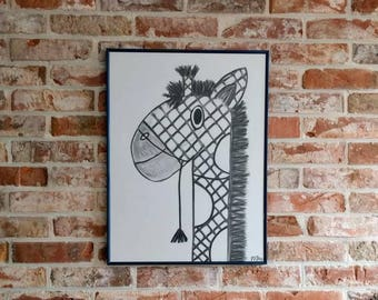 Children's room poster animal. Gydipp, the giraffe. Unique gift, black and white drawing charcoal & Siberian chalk, no print. Sturdy maternity Gift