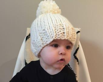 Knitted pom pom toque - baby/child