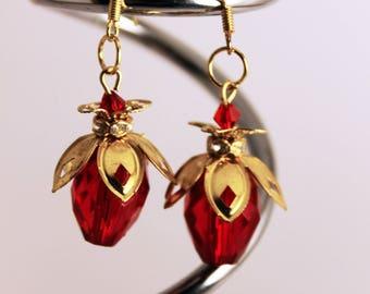 Raspberries crystal earrings, Red crystal earrings