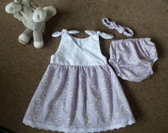 Baby Girl dress, pants(nappy cover) and headband set.