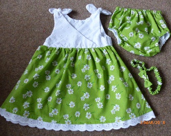 Baby girl dress, pants(nappy cover) and headband set