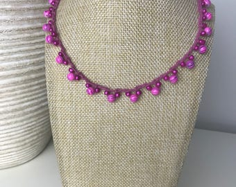 Pink Crochet Beaeded Necklace