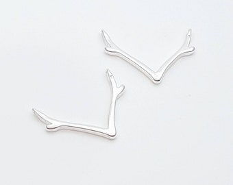 236 Rhodium plated over Sterling Silver Deer Antlers Black Sterling Silver Deer Antler Charm Black Dear Antler Connector Charm