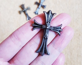 2 Cross Charm, Gothic Pendant, Antique Silver, Large Size 44mm*30mm, Tibetan Silver