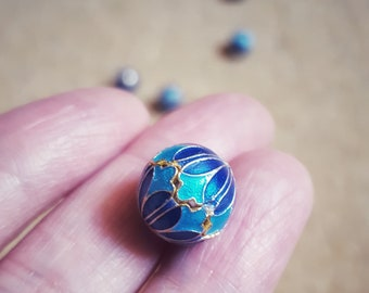 925 Sterling Silver, Cloisonné Enamel Beads, 12mm