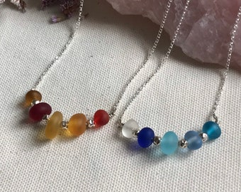 Sea glass and sterling silver necklaces