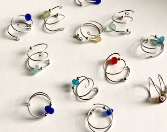 Sea Glass and Sterling Silver fidget rings