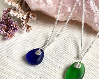 Sea glass and sterling silver pendant
