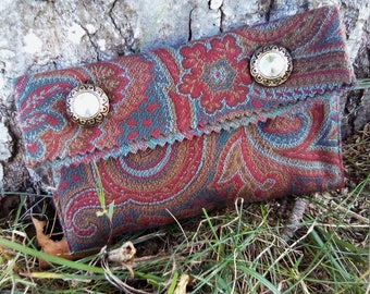 Vintage Burgundy clutch patterned