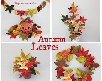Crochet Autumn Leaves  Pattern -photo tutorial - crochet pattern for Decor, Bouquets and Arrangement