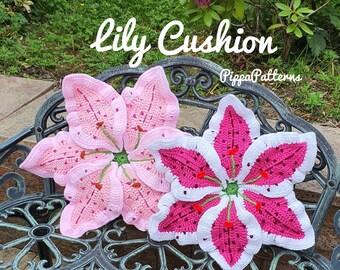 Lily Cushion - Lily pillow - photo tutorial - crochet pattern