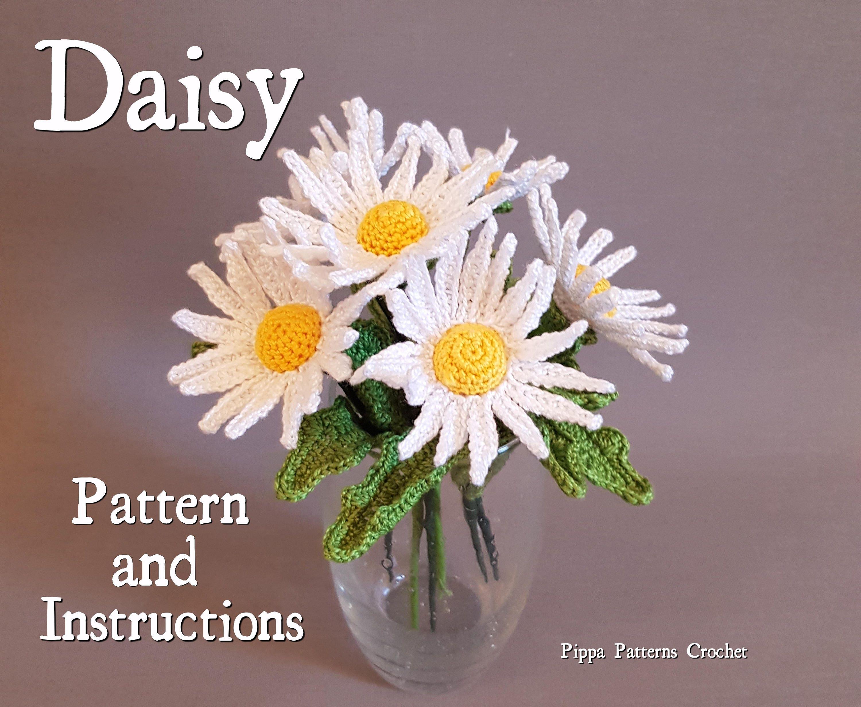 Crochet daisy flower pattern plant garden decoration home handmade crochet daisy flower pattern plant garden decoration home handmade white vase from pippapatternscrochet on etsy studio izmirmasajfo