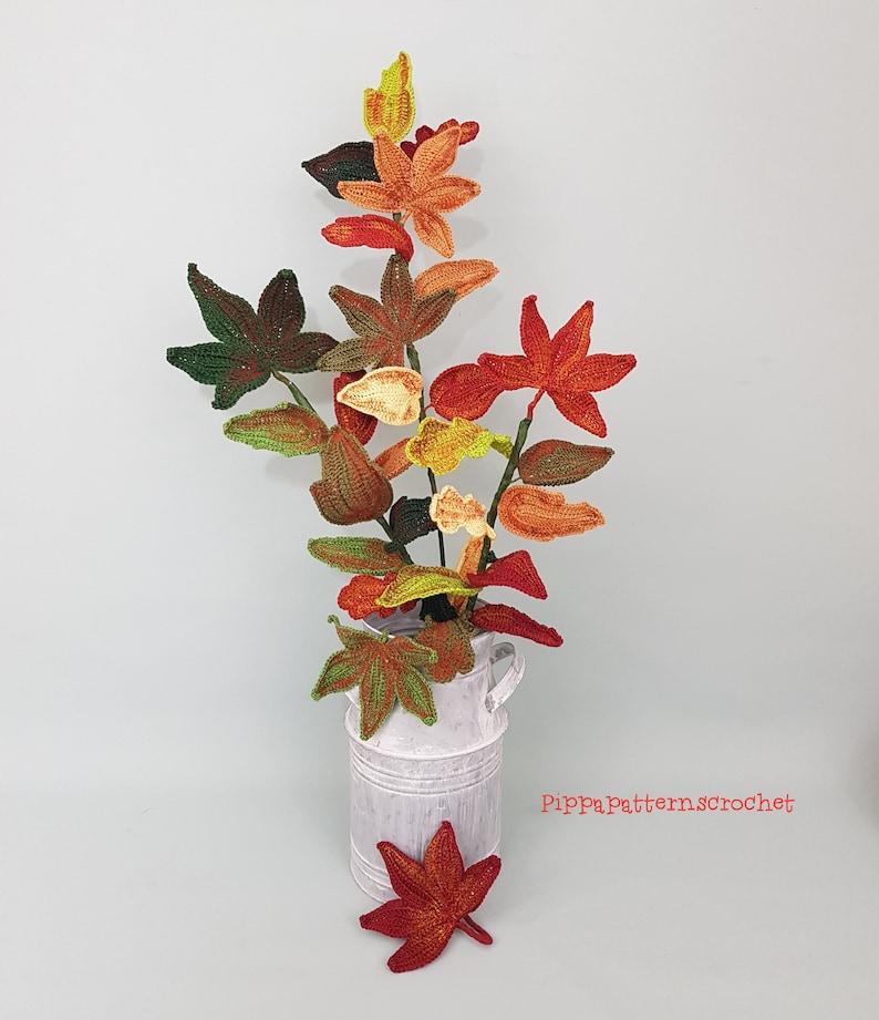 crochet pattern for Decor Bouquets and Arrangement photo tutorial Crochet Autumn Leaves  Pattern