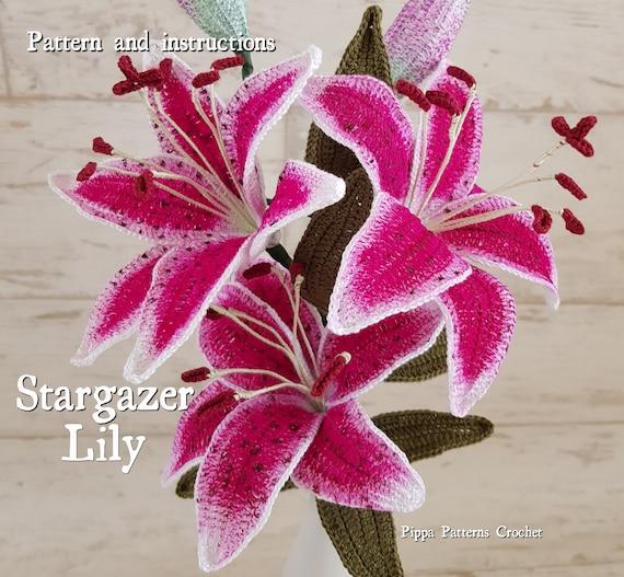 Crochet Stargazer Lily Flower Pattern Plant Garden Easter
