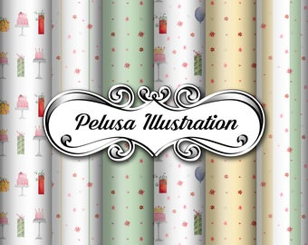 Green&Gold Party Digital Paper Pack - Pelusa Illustration -