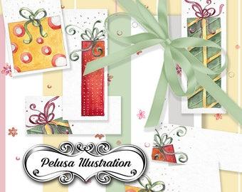 Gift Cards & Digital Paper Pack 2  - Pelusa Illustration -