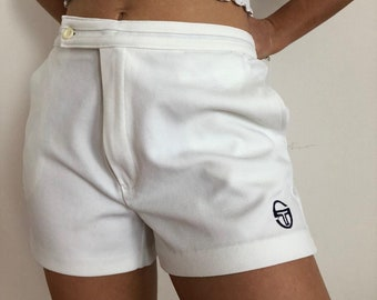 SERGIO TACCHINI tennis shorts white logo Sports white loose Sportwear Track Cute US Size M preppy sporty 90s made in italy high waisted