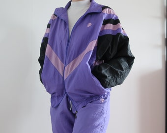 37171ba7 Vintage Purple Tracksuit Jacket Co-Ord Two Piece Sportwear Fresh Prince  Retro 80s