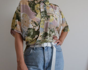 Vintage retro mens shirt oversized 90s 00s women size XL mens size L pastel print all over  pattern short sleeve
