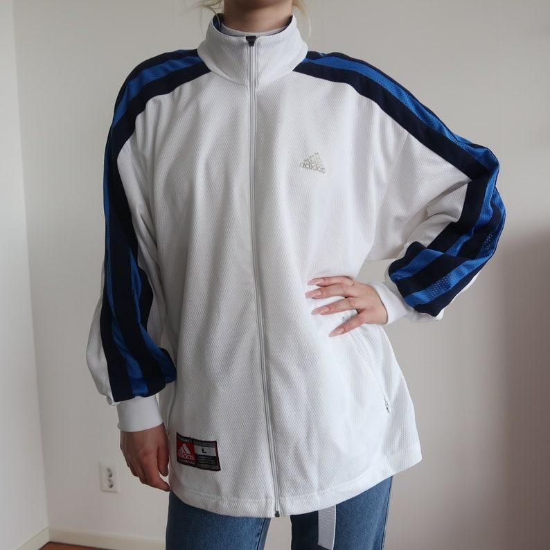 81d7960d46887 ADIDAS 90s vintage track jacket adidas track retro zip up windbreaker coat  sportswear sports lined jacket blue white 00s L
