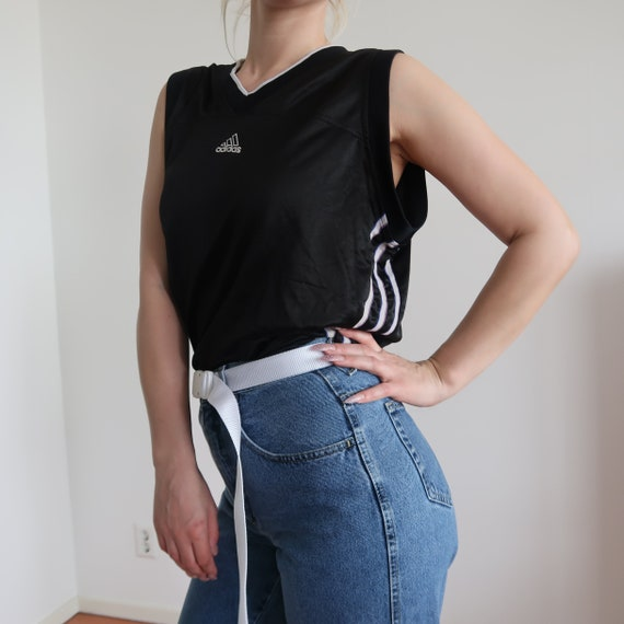 90s Y2K Vintage Adidas Basketball Jersey Retro XL Black White Sleeveless Triple Stripe Logo
