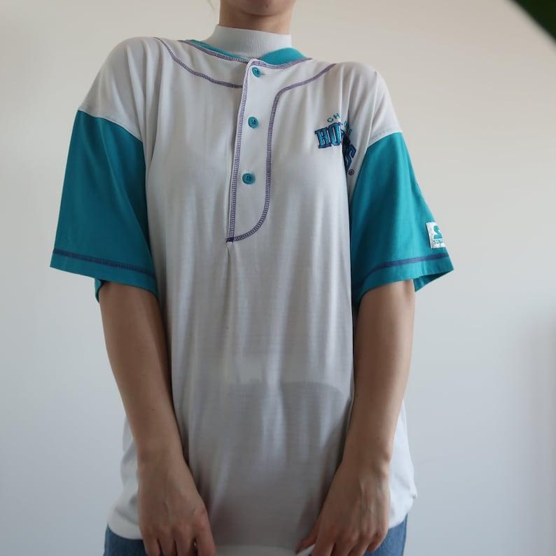 big sale 0c67f bf658 Vintage Retro Contrast Sleeve NBA Jersey Charlotte Hornets Sportswear  Merchendise Baseball Basketball