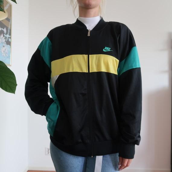 NIKE rare sports jacket with logo windbreaker black yellow green zip down 90s Track Jacket Vintage Streetwear logo Sportswear oversized XL