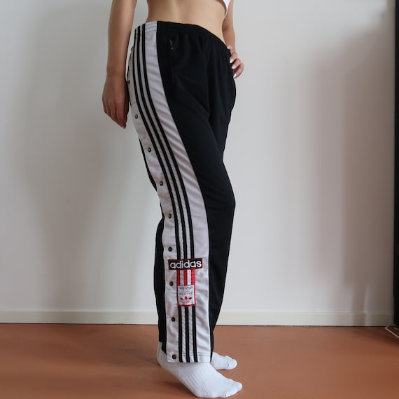 Adidas 90s high waisted popper track pants jogging sweatpants trackpant vintage retro black white size M colorblock street style streetwear