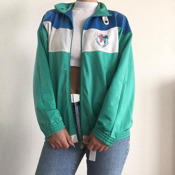Track Herren Vintage Reißverschluss Sportbekleidung Stickerei Weiß Blau 90er Jacke Jahre Retro Pastell Grün Windjacke Puma Sport 80er wO80XNPnkZ