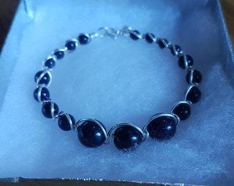 925 silver and blue goldstone bracelet