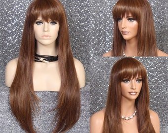 32/'/' Long Straight Long Bangs Saxe Blue Cosplay Wig NEW