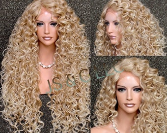 Human Hair Blend Full Lace Front Wig Extra volume and Curly Untamed and wild Heat Safe Wig Blonde mix Side parting Brand New