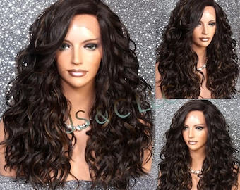 Human hair blend Full Lace Front wig Luscious and naturel Hand Tied Heat Safe Brown and Light auburn mix Cancer/alopecia Cosplay