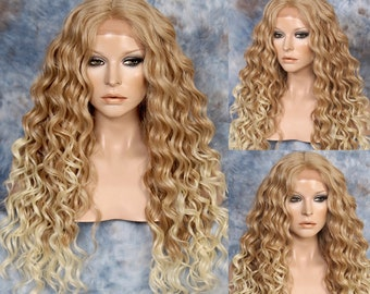 Human Hair Blend Long Curly Wig Soft Swiss lace front hand tied mono centerpart Strawberry Blonde tipped Pale Blonde Cancer/Alopecia/Cosplay