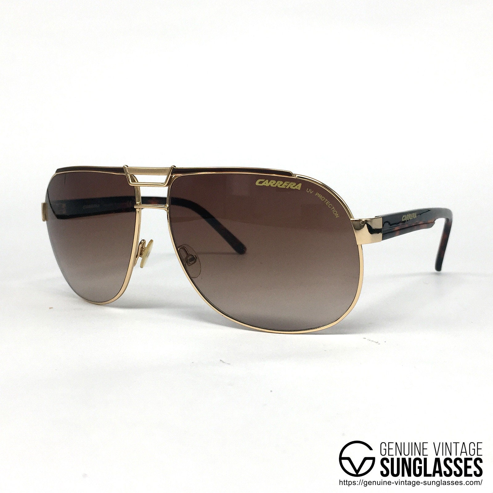 5891eddecf7 NOS Carrera Dakar gold vintage sunglasses large