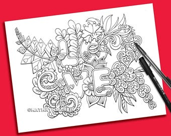 Floral Love Coloring Page