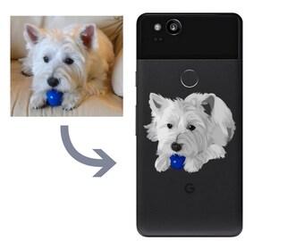 6fec9dda0f Custom illustration Drawing dog Phone Case Google Pixel XL 2 XL iPhone Case  5 6 7 8 X Sasmung S5 S6 S7 S8 S9 Cat Dog lover gift pet