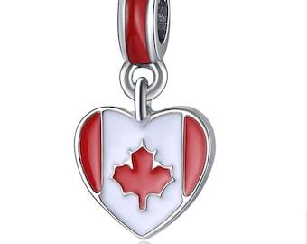 BULK 20 Canada charms antique silver tone WT103