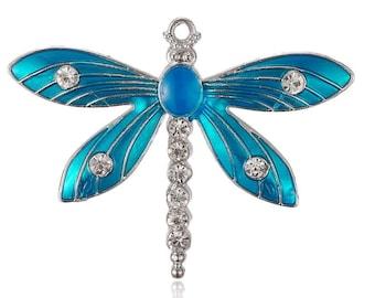 Dragonfly Charm Pendant, Rhinestone Dragonfly, Blue Turquoise Dragonfly Charm, Large Dragonfly Pendant    (4-178)