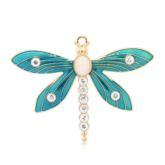 Large Retro Enamel Butterfly//Dragonfly Pendants Turquoise and Blue