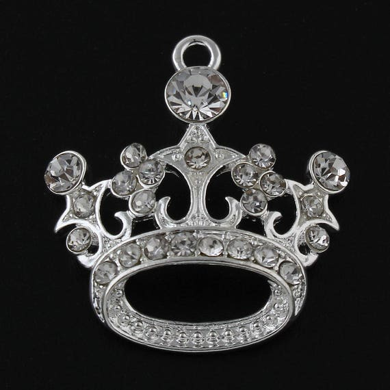 Princess style Tiara pendants or large charms crown fairytale x 2 silver plated