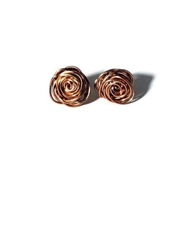 ros\u00e9 gold earrings concrete jewelry unique ear copper Modern handmade stud earrings made of concrete