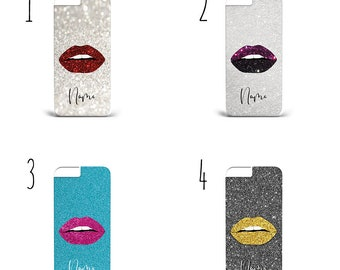Personalised Lips Kisses Love Glitter Marble unique Printed Name Custom Luxury Gift Phone Case For Iphone /& Samsung HARD PLASTIC