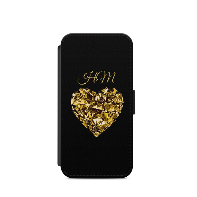 Personalised Brilliant Heart Black Beckground Printed  Initials 2 letters Custom Phone Case For Iphone /& Samsung Flip Wallet Unique Gift