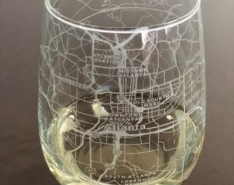 Atlanta Falcons stemless glitter wine glass.