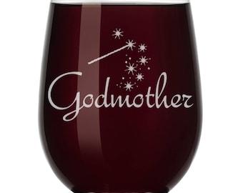Godmother Wine Glass Stemless or Stemmed