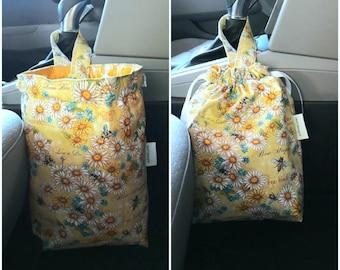 Car trash bag, Waterproof lined litter bag, Garbage bag with drawstring closure, Car accessories