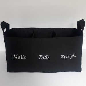 Your choice of embroidery words Personalized canvas basket Mail Bills Receipts Custom fabric storage organizer bin with 2 dividers