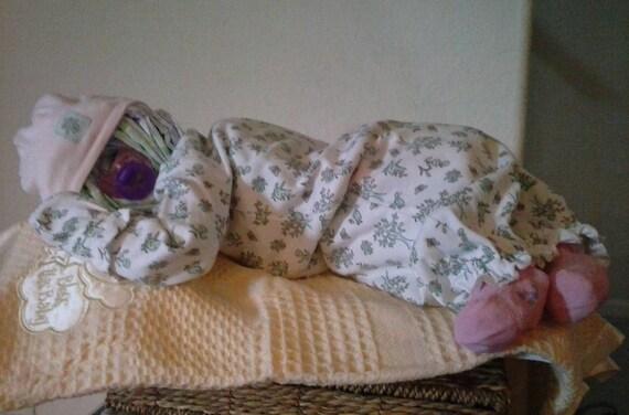 Sleeping Baby Diaper Cake Girl Boy Or Neutral Gift Etsy